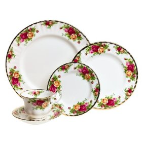 ROYAL ALBERT Old Country Roses 5-Piece Dinnerware Set, Service for 8