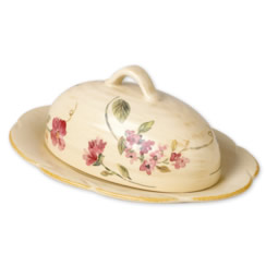 SILK ROSE Covered Butter Dish