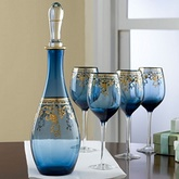 OTHER BRANDS 5-Pc.Gilded Cobalt Wine Decanter Set