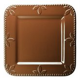 SIGNATURE SORRENTO 9-Inch Square Salad Plates, Set of 4, Chocolate Brown